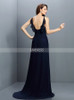 Dark Navy Bridesmaid Dresses with Flounce,Chiffon Long Bridesmaid Dress,11418