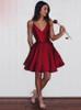 Burgundy A-line Short Prom Dresses,Satin Homecoming Dress,11515