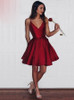 Burgundy A-line Short Prom Dresses,Satin Homecoming Dress,11515