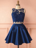 Dark Navy Two Piece Homecoming Dresses,Satin Cocktail Dress,11547