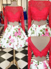 Two Piece Homecoming Dresses with Sleeves,Print Cocktail Dress,11551