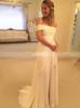 Chiffon Wedding Dresses with Slit,Off the Shoulder Bridal Dress,11655