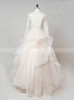 Light Champagne Wedding Dresses with Sleeves,Ruffled Bridal Gown,11659