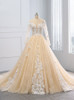 Champagne Wedding Dresses with Sleeves,Floral Bridal Dress,11694