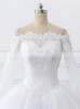 White Ball Gown Wedding Dress,Off the Shoulder Wedding Gown with Sleeves,11706