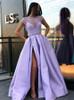 Lilac Prom Dresses with Slit,Satin Evening Dress,11876