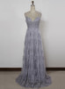 Grey Prom Dresses with Straps,Long Lace bridesmaid Dress,11901