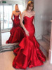 Fitted Evening Dresses,Trumpet Prom Dress with Ruffled Skirt,11908