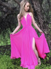 Chiffon Prom Dress with Slit,Formal Evening Dress,11909