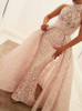 High Neck Prom Dress with OverSkirt,Lace Modern Prom Dress,11912