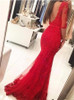 Red Mermaid Prom Dresses with Sleeves,Long Prom Dress for Teens,11915