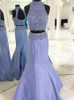Two Piece High Neck Prom Dress,Mermaid Beaded Prom Dress,11916