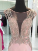 Pink Beaded Prom Dresses,Mermaid Evening Dresses with Cap Sleeves,11917