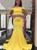 Yellow Two Piece Evening Dresses,Mermaid Prom Dress,11921