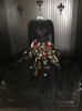 Black Two Piece Prom Dresses,Floral Tulle Prom Dress with Sleeves,11933