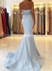 Light Blue Beaded Prom Dresses,Mermaid Sweetheart Evening Dress,11945