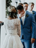 Two Piece Wedding Dress with Sleeves,Long OutDoor Wedding Dress,11725