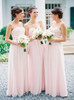 Pink Strapless Bridesmaid Dresses,Modest Chiffon Bridesmaid Dress,11955