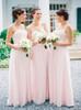 Pink Strapless Bridesmaid Dresses,Modest Chiffon Bridesmaid Dress,11955