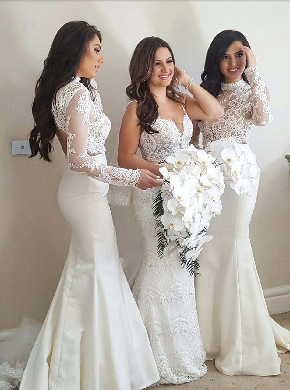 c437fc3e170 Ivory Mermaid Bridesmaid Dresses with Sleeves