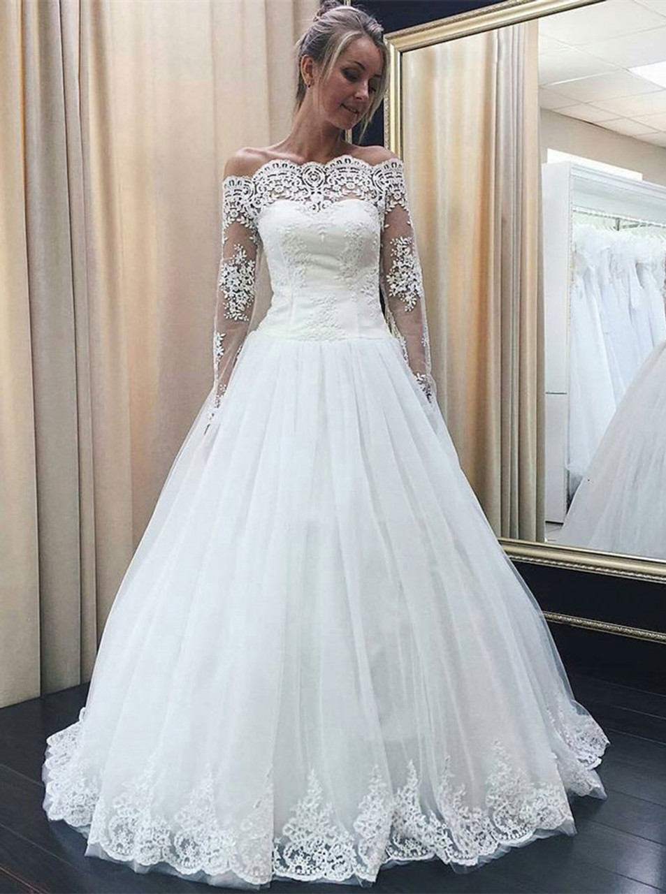 Off The Shoulder Wedding Dress Modest Wedding Dress With Sleeves