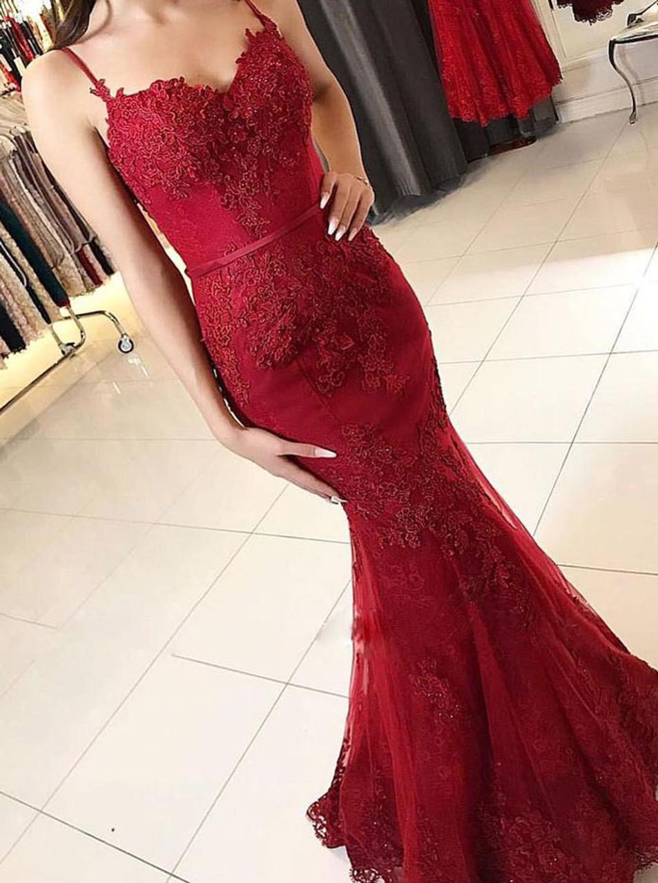 mermaid burgundy fitted prom dress