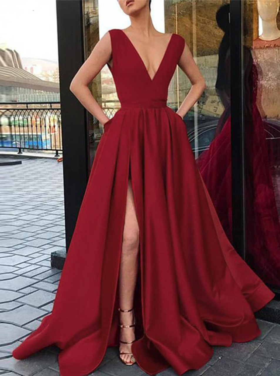 adf0aa07d6d A-line Satin Prom Dress with Pockets