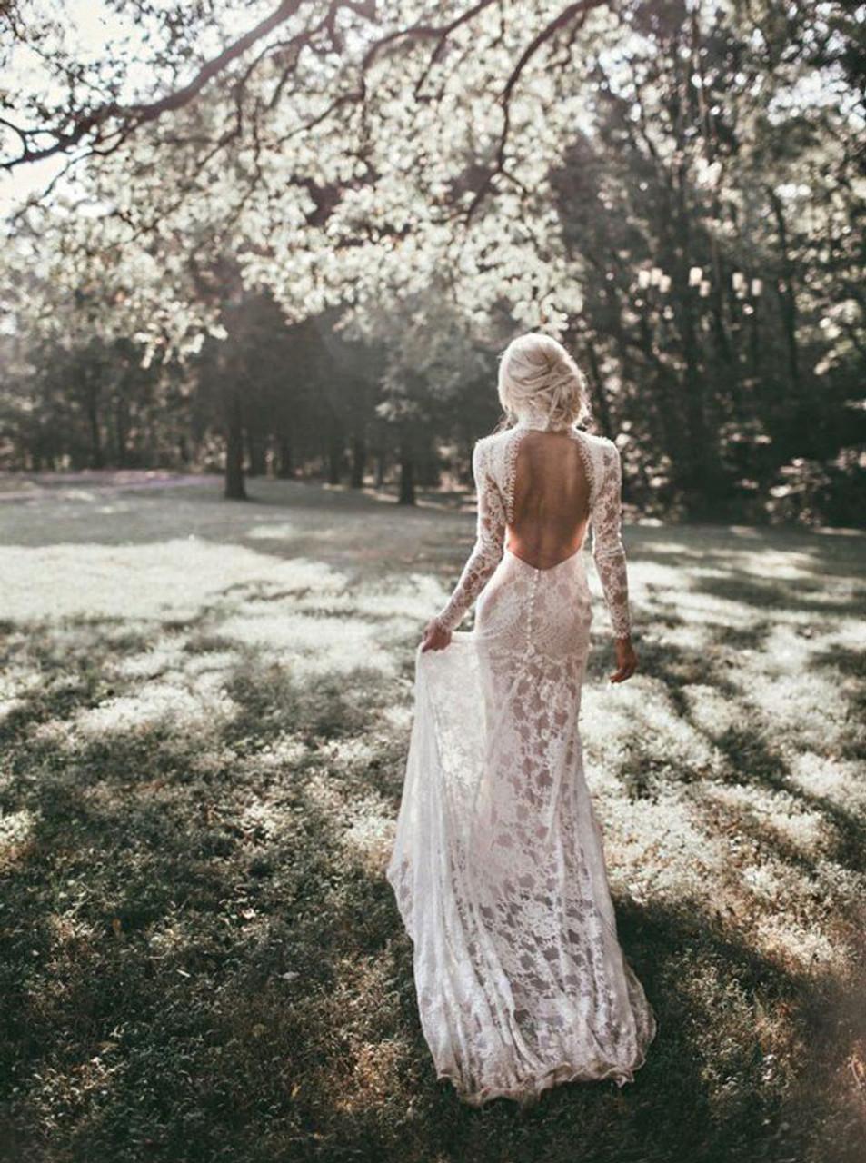 Vintage Wedding Dress Open Back Lace Fitted Wedding Dress High Neck Wedding Dress 12032 Landress Co Uk,Wedding Dresses Toronto Plus Size