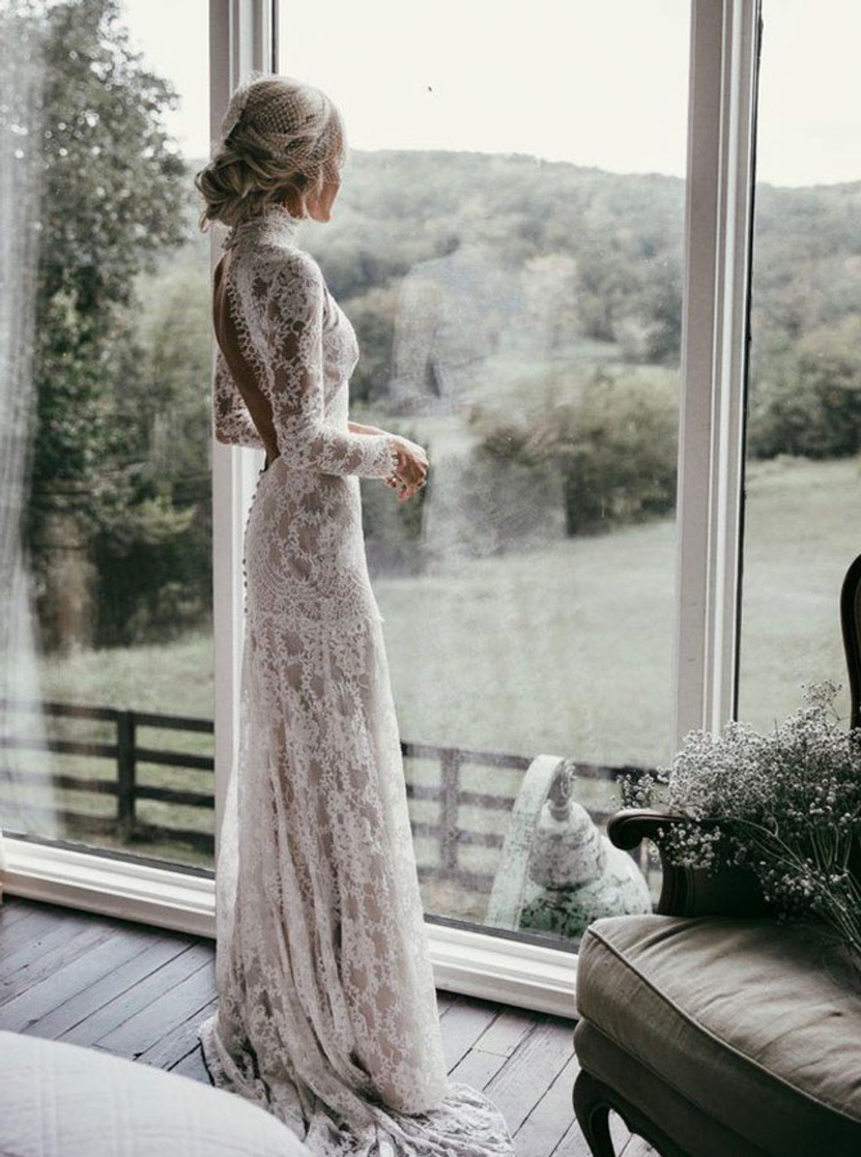 Vintage Wedding Dressopen Back Lace Fitted Wedding Dresshigh Neck Wedding Dress12032