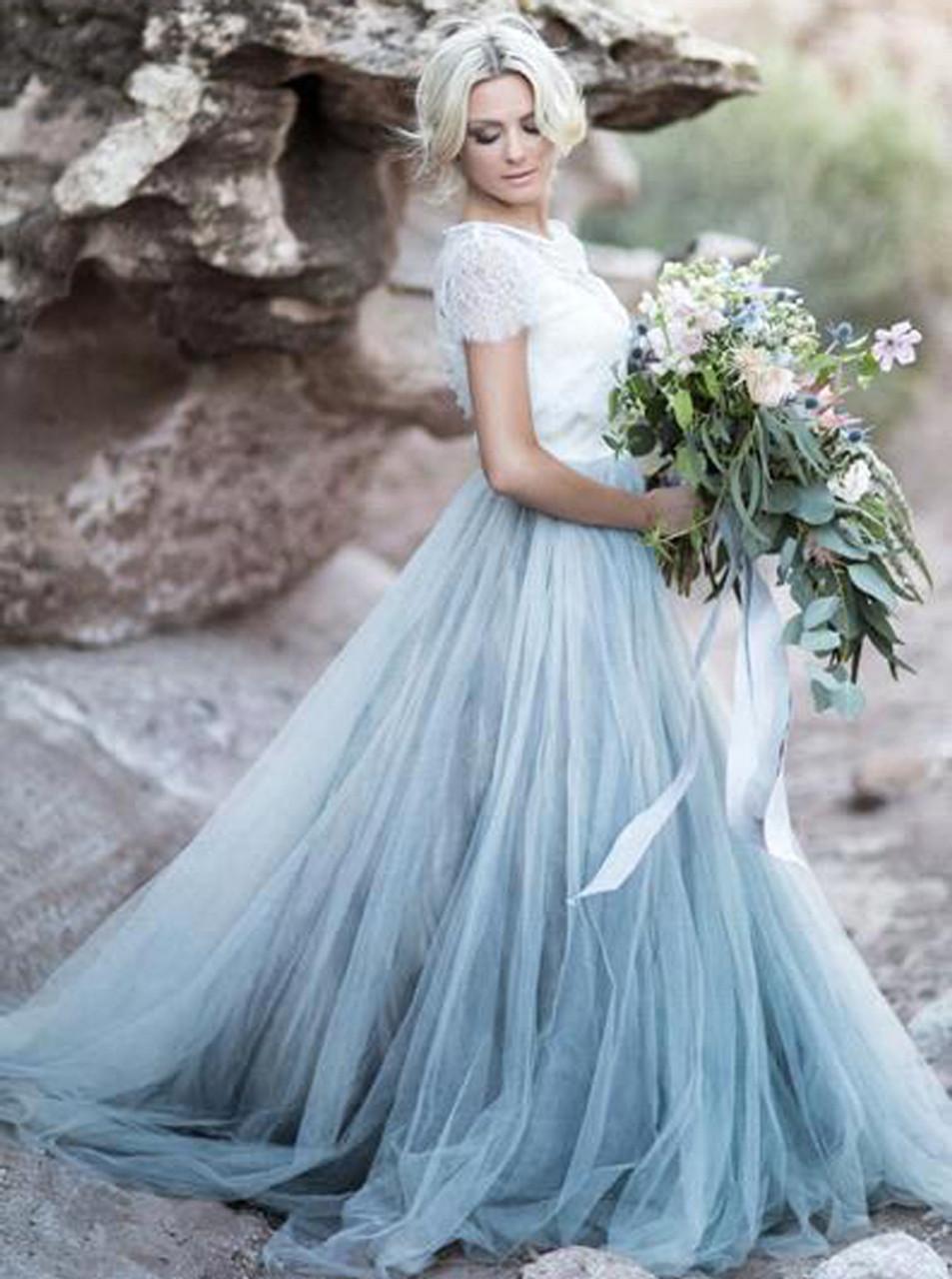 Dusty Blue Wedding Dresses,Rustic