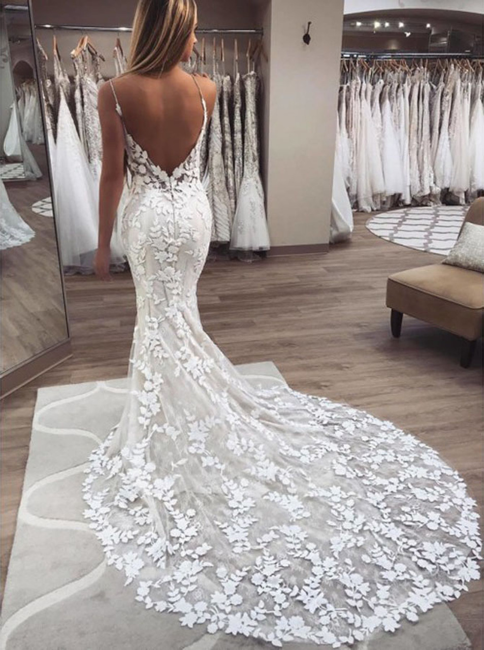 Lace Mermaid Wedding Dress with Spaghetti Straps,Destination Wedding  Dress,18