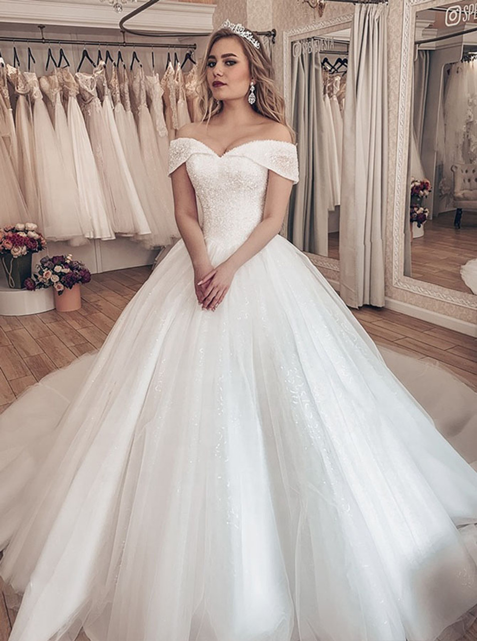 Luxurious Princess Bridal Dress Off The Shoulder Crystal Ball Gown Dress 12220,Wedding Dresses Catalogs Free By Mail