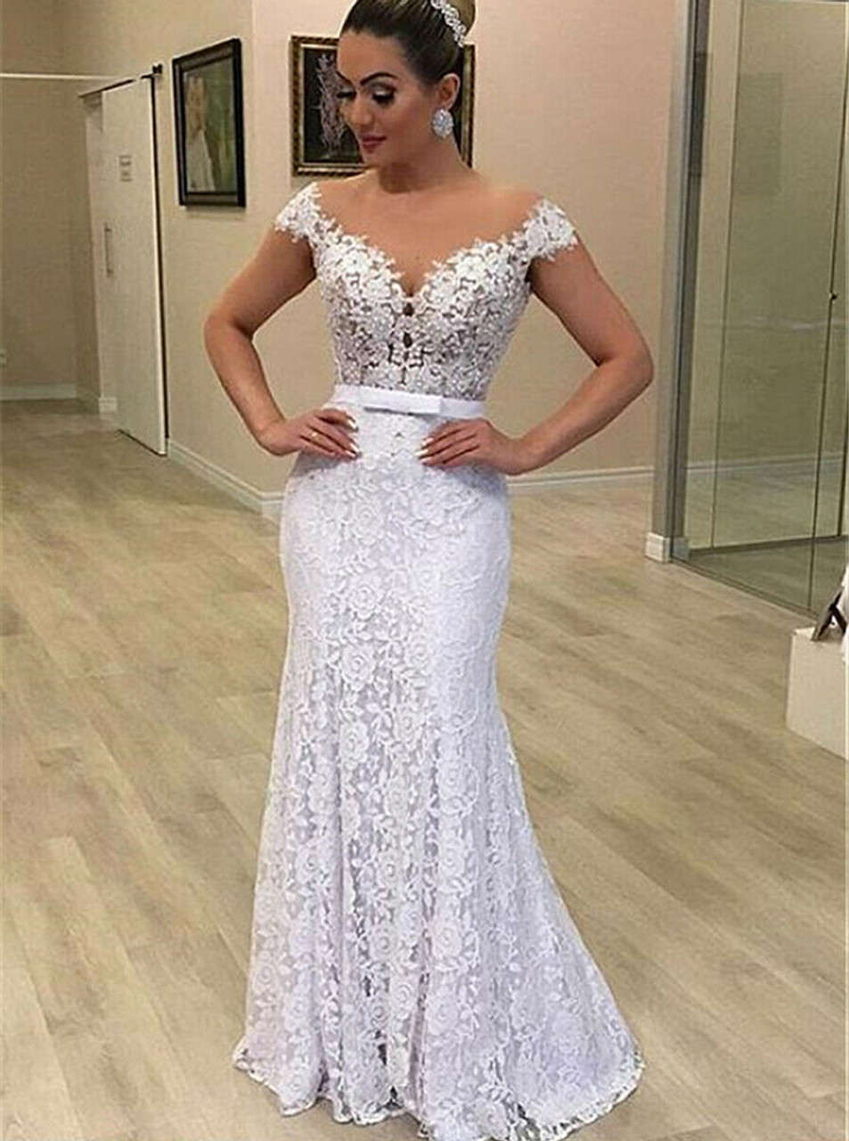 20 in 20 Lace Wedding Dress with Removable Skirt,202020820
