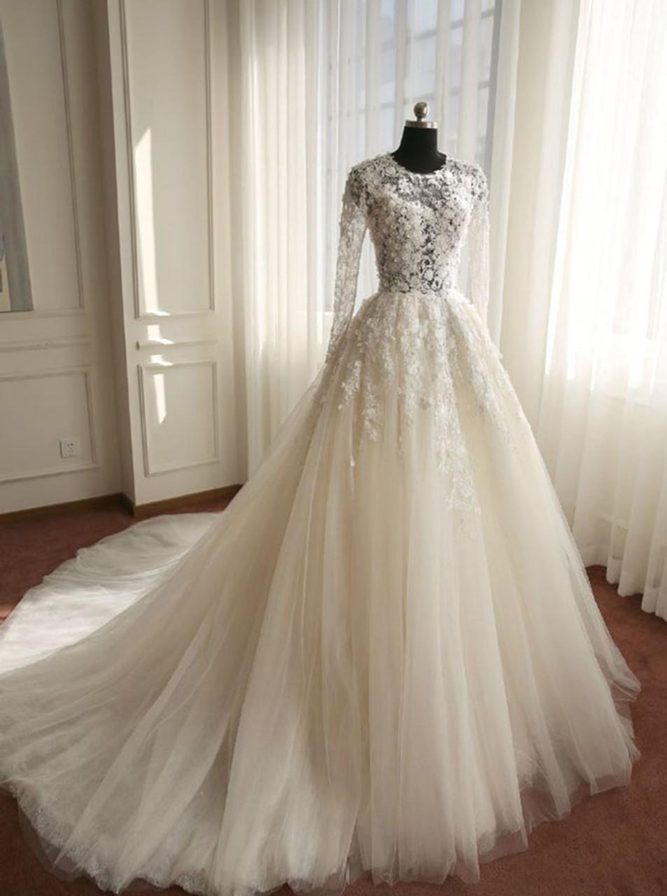 Sleeves,Tulle Bridal Dress,11122