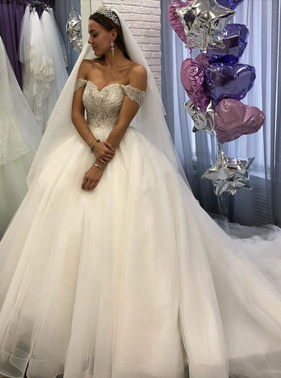 Ivory Wedding Dresses,Off the Shoulder Bridal Dress,Princess Wedding  Dress,20