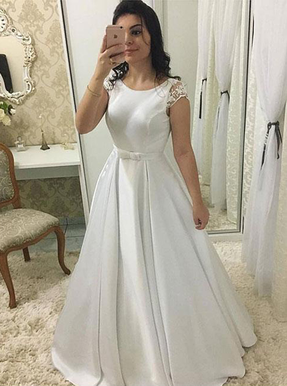 A Line Wedding Dress With Cap Sleeves Satin Wedding Dress Simple
