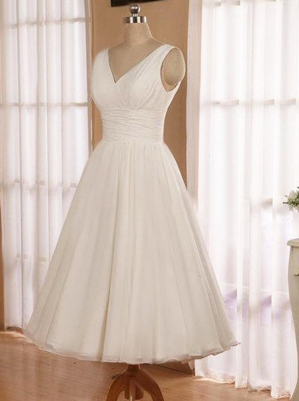 Casual Wedding Dress.Tea Length Short Wedding Dress Wedding Reception Dress Simple Casual Bridal Dress 11140