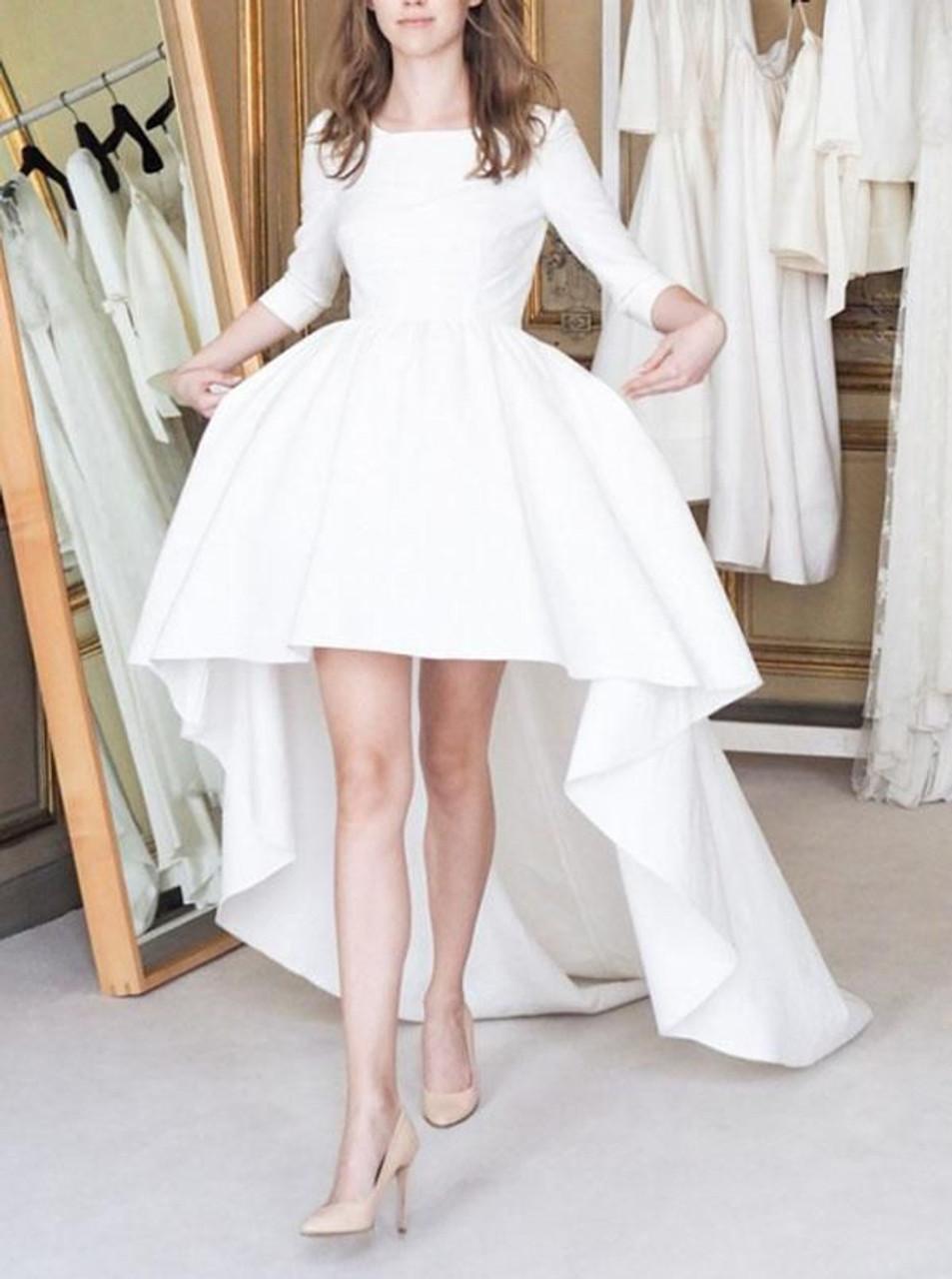 High Low Wedding Dresses With Sleevessatin Simple Bridal Dressmodern Bridal Dress11162