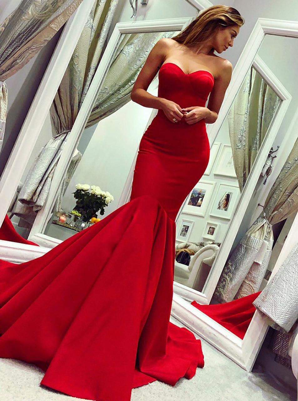 4e4ecb84bc835 Mermaid Red Prom Dresses
