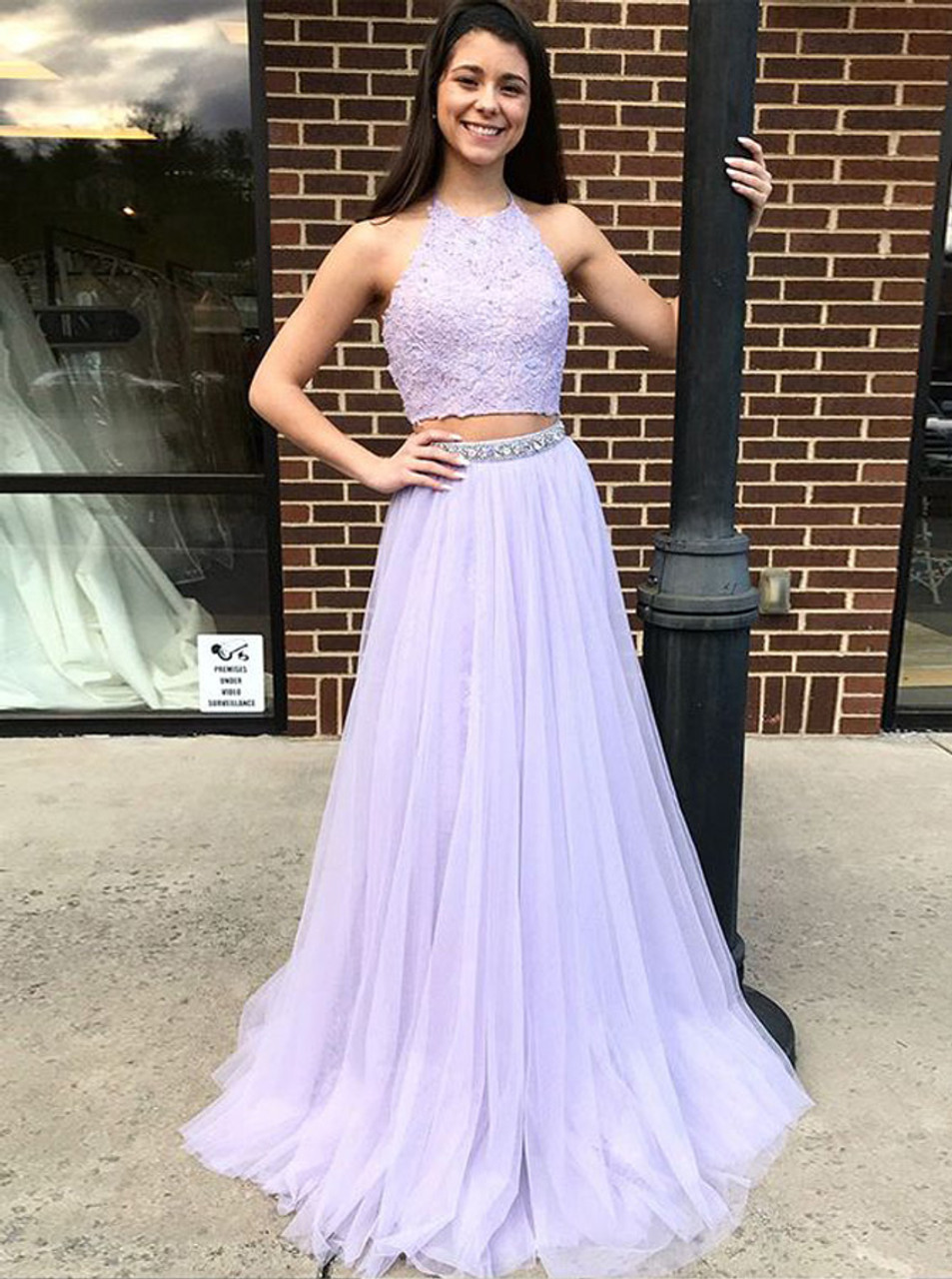 V Neck Lilac High Low Tulle Prom Dresses Formal Evening