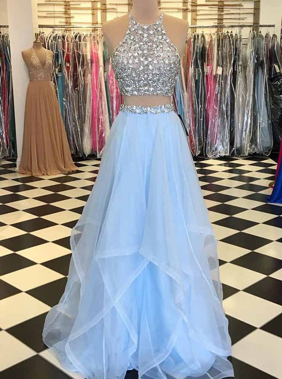 Two Piece Prom Dresses,Tulle Long Prom Dresses,Beaded Prom Dress for  Teens,6