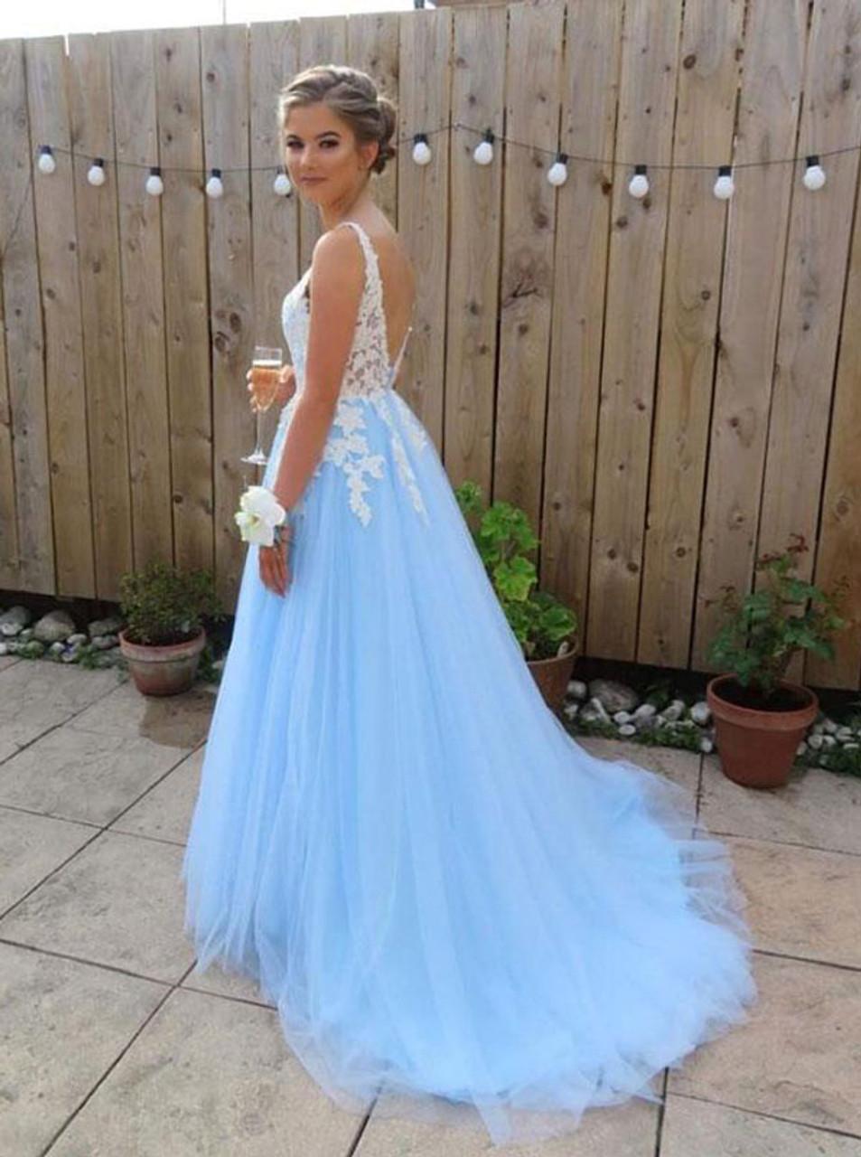 SkyBlue Strapless Prom Dresses,Tulle Prom Dress for Teen