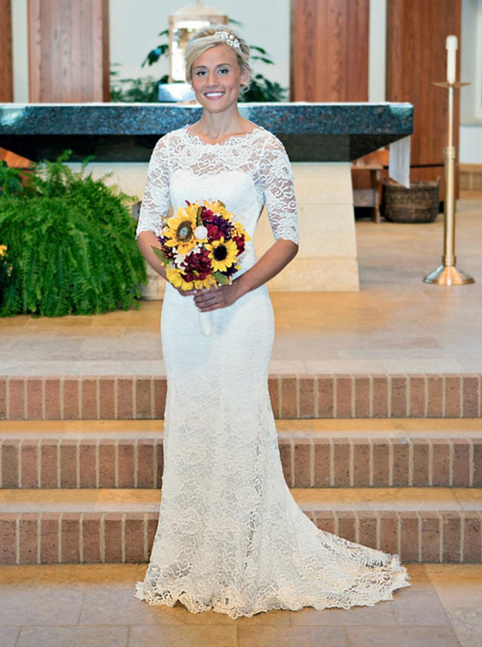 Open Back Wedding Dresses Lace Mermaid Wedding Dress With Sleeves 11282 Landress Co Uk