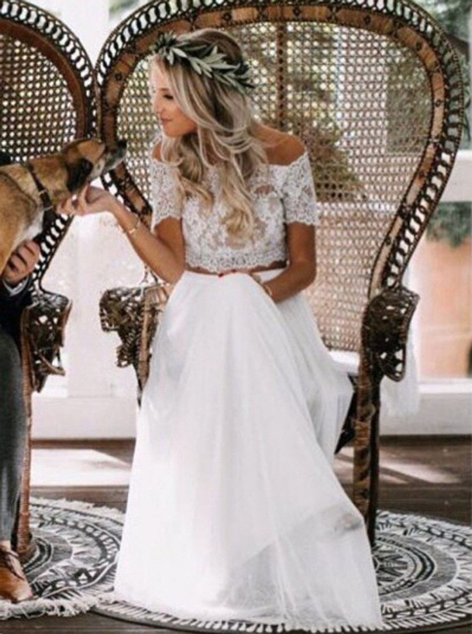 Two Piece Wedding Dress With Short Sleeves Long Boho Wedding