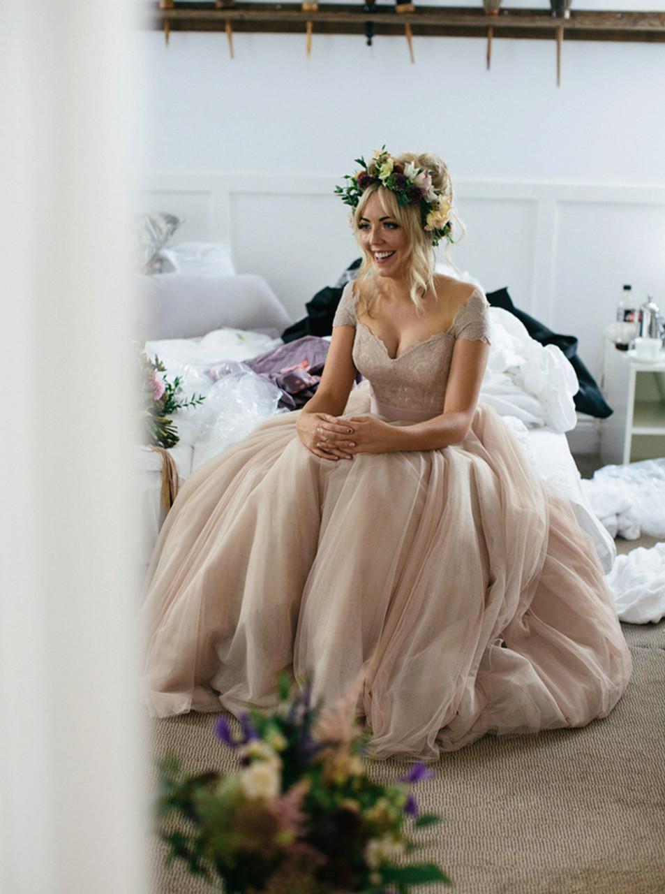 Champagne Wedding Dresses Off The Shoulder Wedding Dress 11303