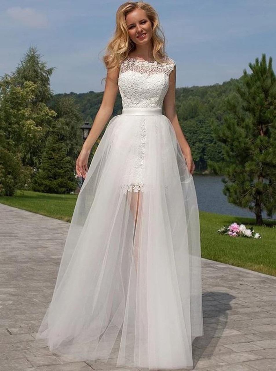 Lace Short Wedding Dress With Detachable Tulle Skirtfull Length Beach Wedding Dress11310
