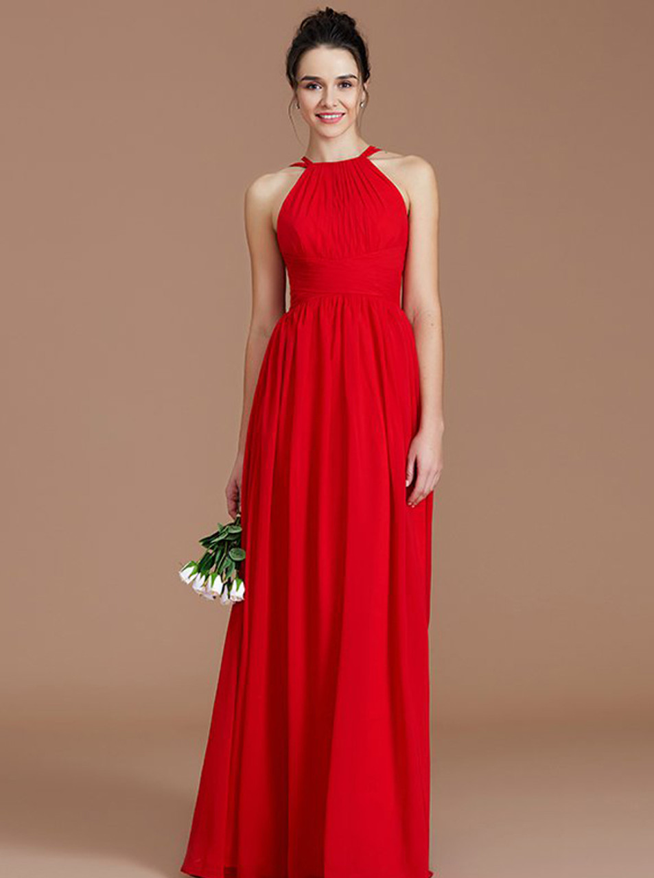 Red Modest Floor Length Bridesmaid Dresses
