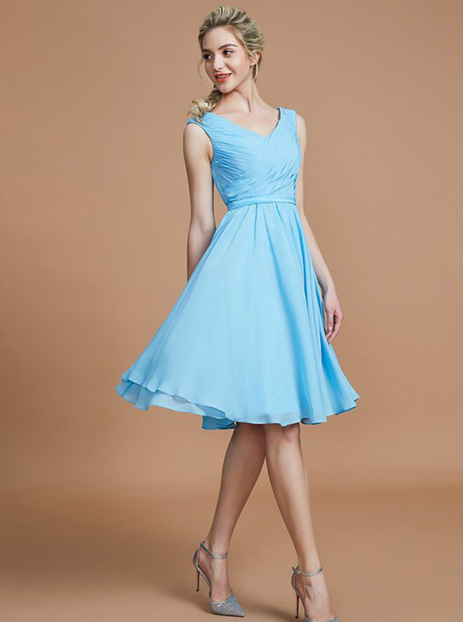 83e4a1a928f5f Light Blue Short Bridesmaid Dresses,Chiffon Knee Length Bridesmaid Dress,11340  - Landress.co.uk