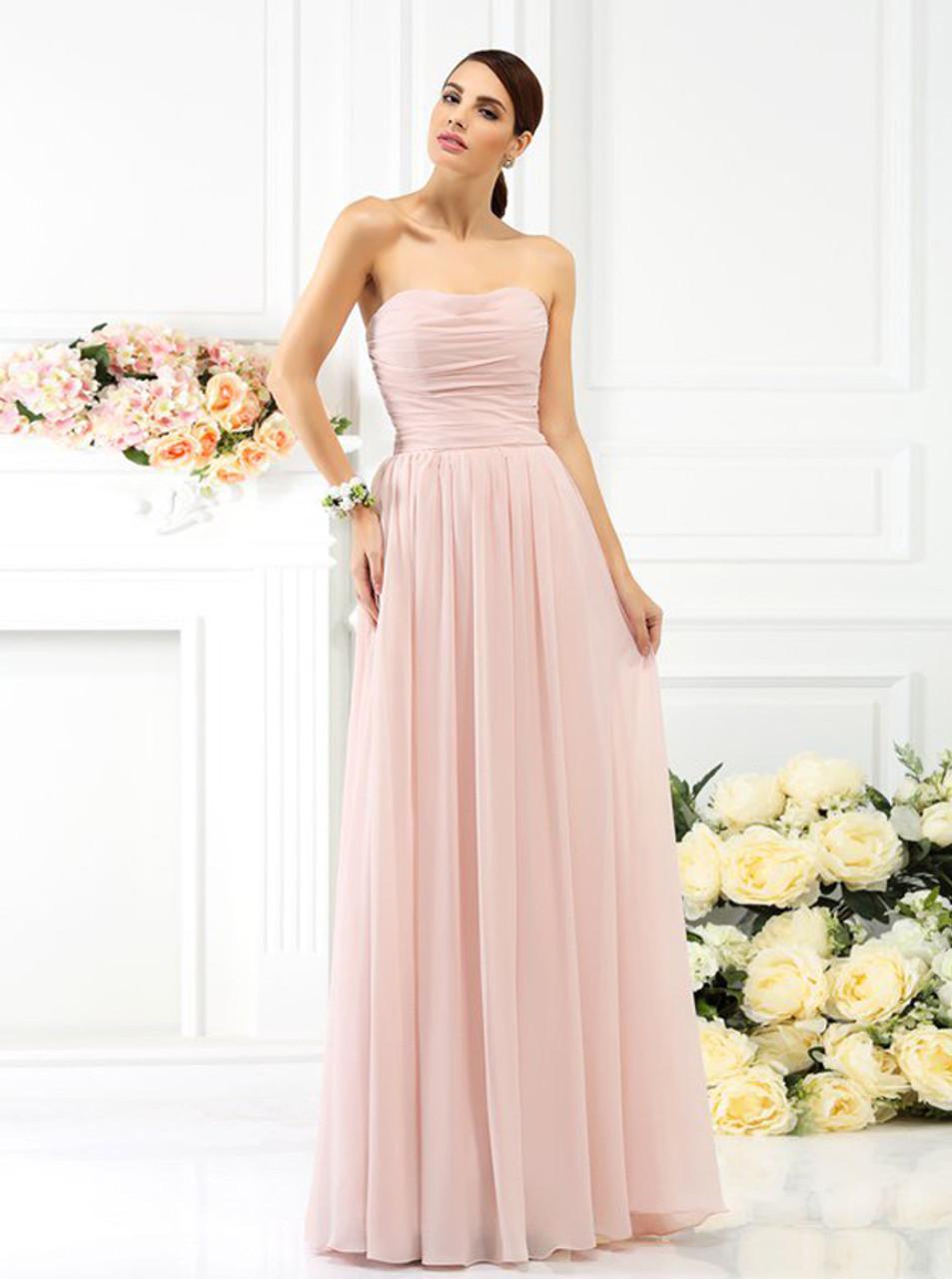 84278abd631 Simple Strapless Bridesmaid Dresses