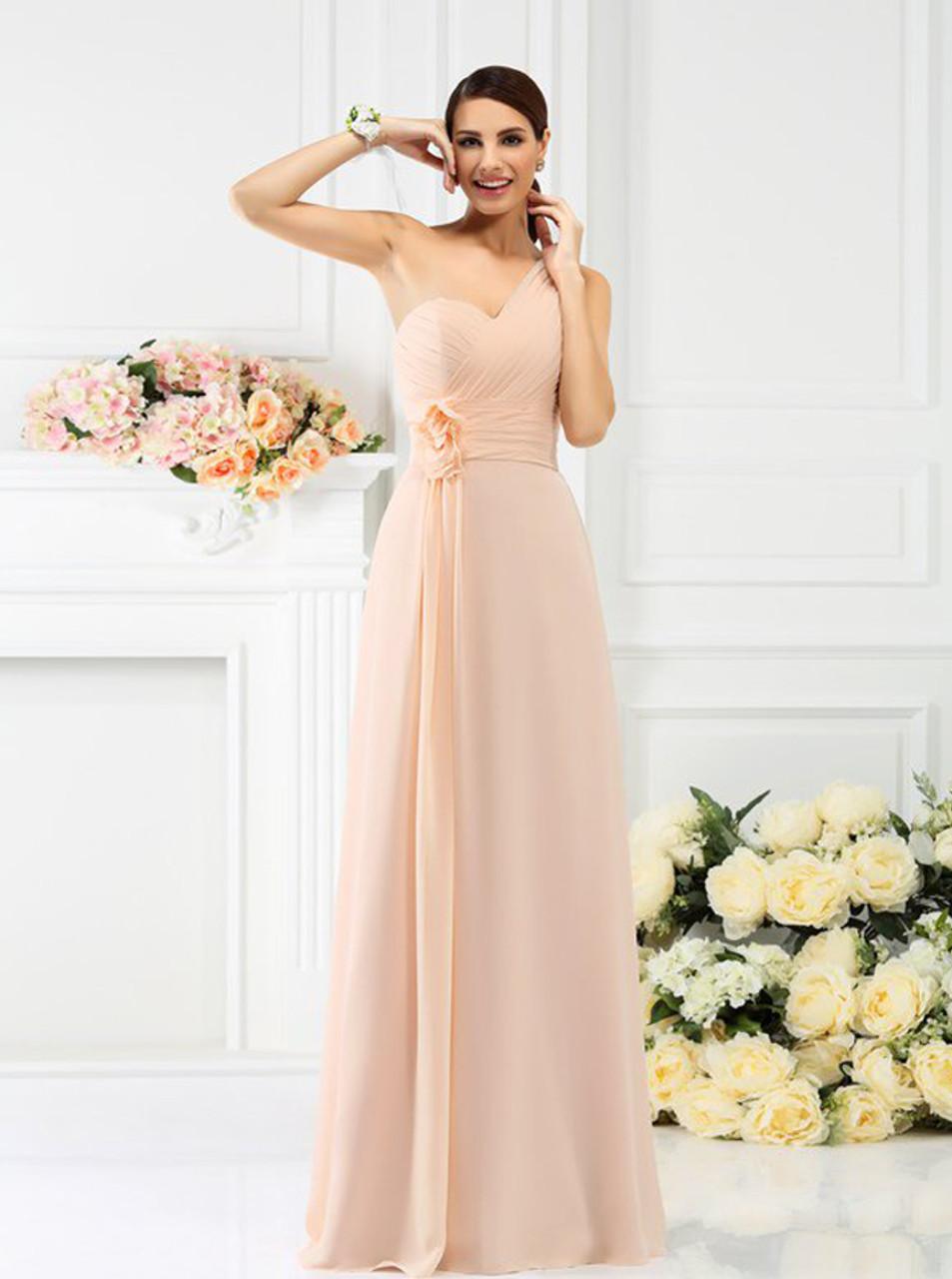 12fdec9e483 Peach One Shoulder Bridesmaid Dresses